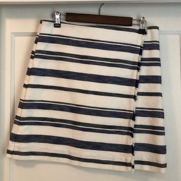LOFT Dresses & Skirts - Loft blue and white striped faux wrap skirt.